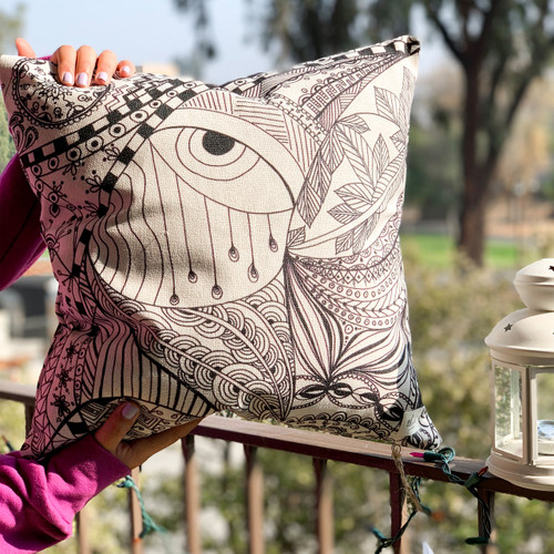 Tale of faces-eyes pillow