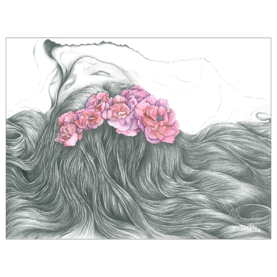 Dreaming with Flowers in Her Hair
