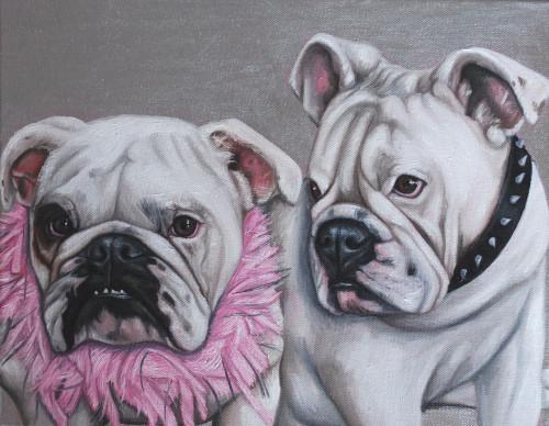 "14"" x 18"" Custom Pet Painting- 2 Pets, No Background"