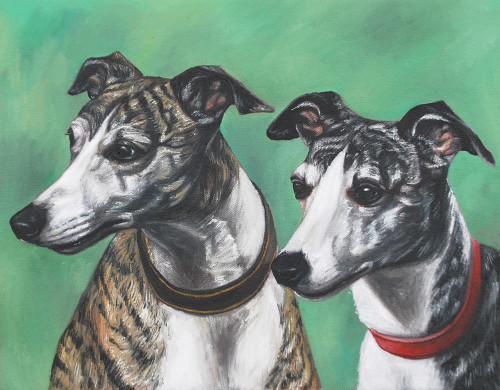 "14"" x 18"" Custom Pet Painting- 2 Pets, No Background"