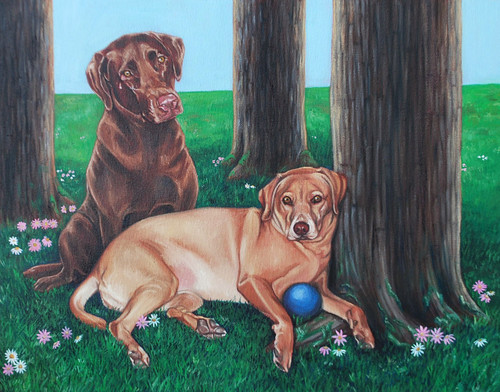 """14"""" x 18"""" Custom Pet Painting- 2 Pets, with Background"""