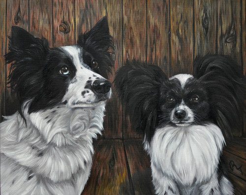 "14"" x 18"" Custom Pet Painting- 2 Pets, with Background"