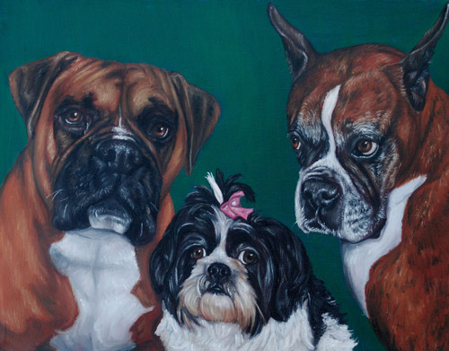 "16"" x 20"" Custom Pet Painting- 3 Pets, No Background"