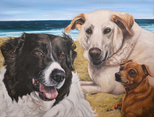 "14"" x 18"" Custom Pet Painting- 3 Pets, with Background"