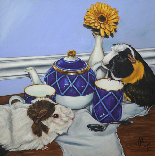 "20"" x 20"" Oil Painting -""Tea for Critters"""