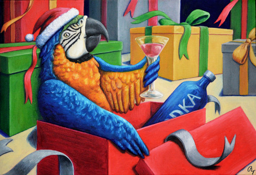"13"" x 19"" Oil Painting -""Drunk Macaw"""