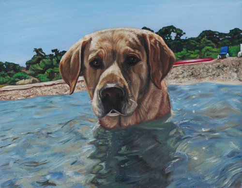"11"" x 14"" Custom Pet Painting- One Pet, with Background"