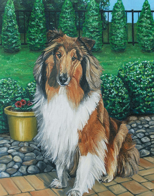 "14"" x 18"" Custom Pet Painting- One Pet, with Background"
