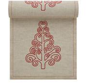 Natural with Tree Linen Printed Luncheon Napkin - 20 Units Per Roll