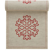 Natural with Snowflake Linen Printed Luncheon Napkin - 20 Units Per Roll