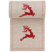Natural with Red Reindeer Linen Printed Cocktail Napkin Wholesale (10 Rolls)