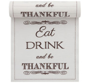 """Eat, Drink & Be Thankful"" Linen Printed Luncheon Napkin Wholesale (10 Rolls)"