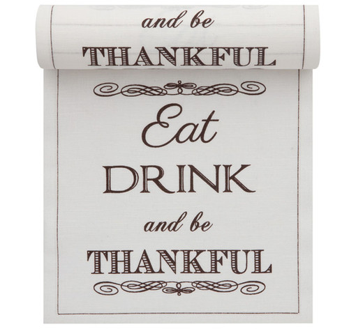 """""""Eat, Drink & Be Thankful"""" Linen Printed Luncheon Napkin - 8"""" x 8"""" - Wholesale (10 Rolls)"""