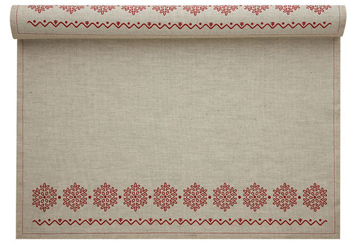 Natural with Snowflake Linen Printed Placemat Wholesale (10 Rolls)