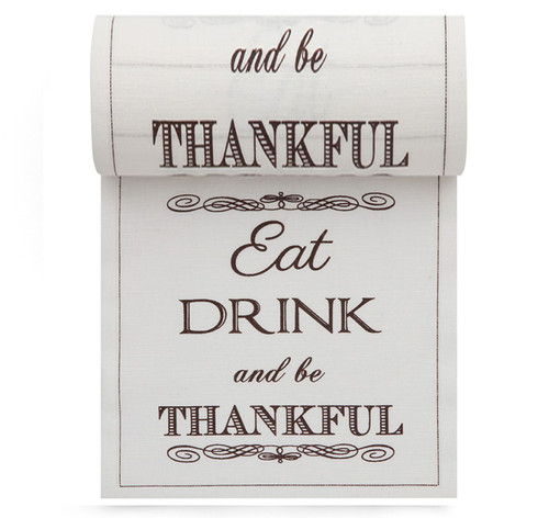 """Eat Drink Be Thankful Linen Printed Cocktail Napkin - 4.5"""" x 4.5"""" - 50 Units Per Roll"""
