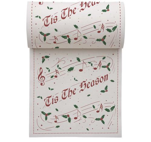 "Tis The Season Linen Printed Cocktail Napkin - 4.5"" x 4.5"" - 50 Units Per Roll"