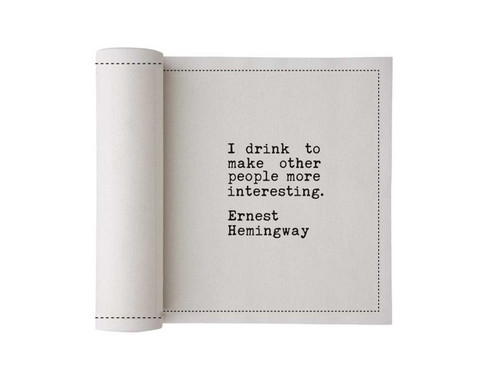 Quotes  Cotton Printed Cocktail Napkin - 50 Units Per Roll