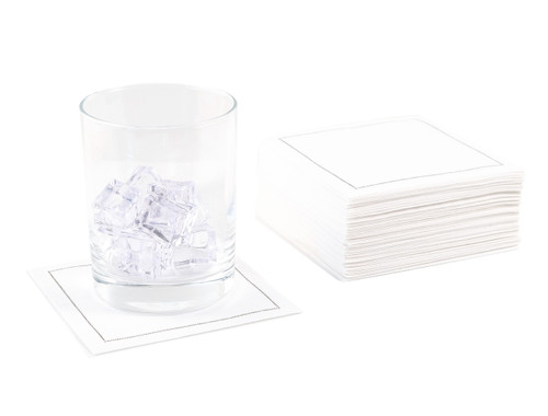 White Cotton Cocktail Napkins - 140 GSM (100 x)