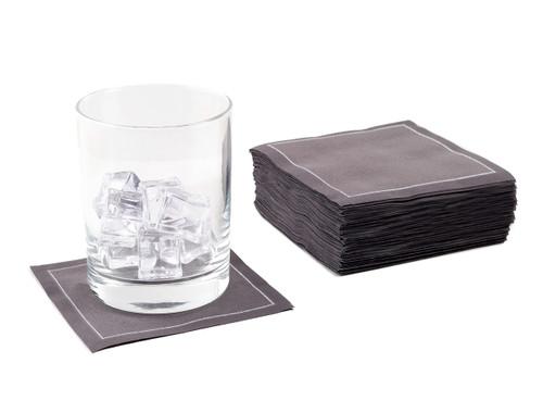 Anthracite Grey Cotton Cocktail Napkins - 200 GSM (100 x)