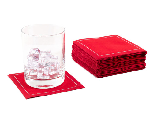 Red Cotton Cocktail Napkins - 200 GSM (100 x)