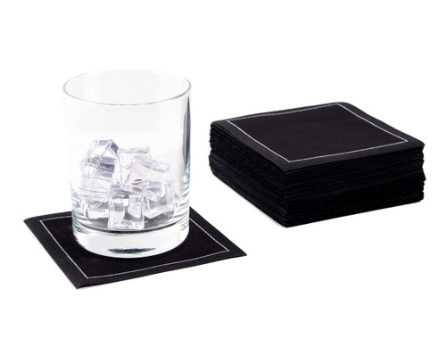 Black Cotton Cocktail Napkins - 200 GSM (1200 x)