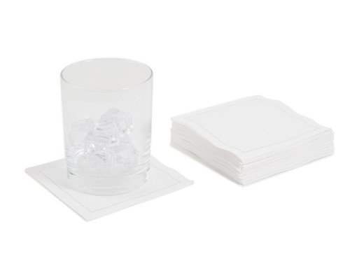 White Cotton Cocktail Napkins (50 x)
