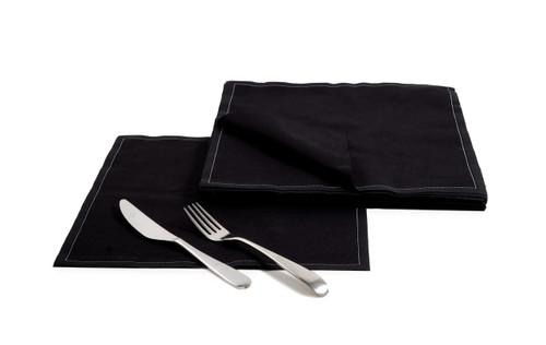 "Black Cotton Dinner Napkins (200 GSM) - 12.6"" x 12.6"" - 250 Units"