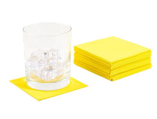 Citron Cotton 1/4 Fold Cocktail Napkins - 140 GSM (600 x)