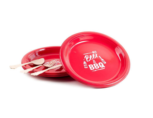 "10"" Round ""Beer & BBQ"" Plastic Plate - 12 Per Pack"