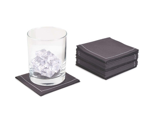 "Anthracite Grey Cotton 1/4 Fold Cocktail Premium (200 GSM) - 8"" x 8"" (folded 4"" x 4"") - 600 units"