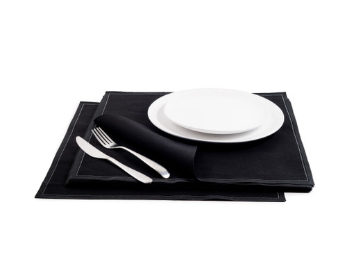 "Black Cotton Premium Dinner - 15.8"" x 15.8"" - 25 Units"