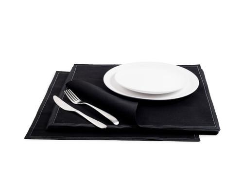 Black Cotton Premium Dinner Napkins - 200GSM (250 x)