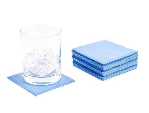"Sea Blue Cotton 1/4 Fold Cocktail - 8"" x 8"" (folded 4"" x 4"") - 30 units"