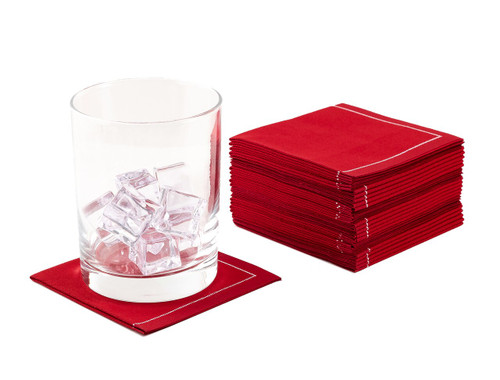 """Red Cotton 1/4 Fold Cocktail (200 GSM) - 8"""" x 8"""" (folded 4"""" x 4"""") - 600 units"""