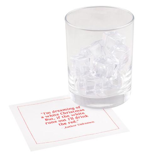 "Christmas Quotes White Cotton Cocktail - 4.5"" x 4.5"" - 50 Units"