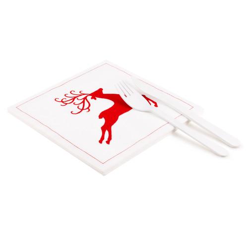 "Reindeer White Linen Luncheon - 8"" x 8"" - 25 units"