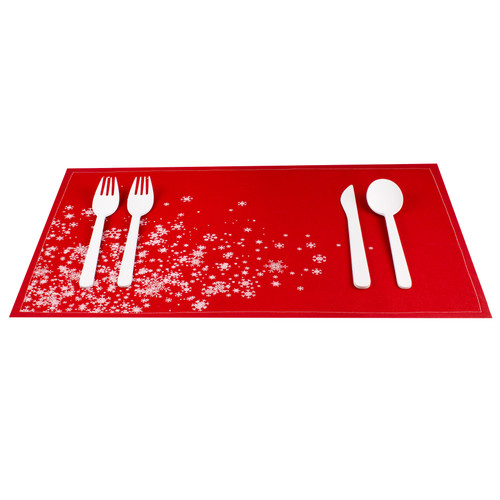 Snowflake Cascade Red Cotton Placemat - 12 Units