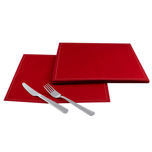"Red Cotton Dinner Napkins - 12.6"" x 12.6"" - 25 Units"
