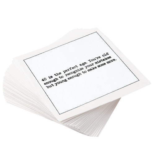 """White Cotton Cocktail with 40th Birthday Quotes - 4.5"""" x 4.5"""" - 50 Units"""