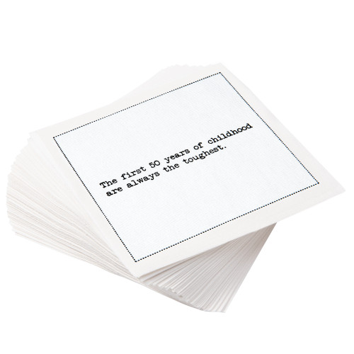 """White Cotton Cocktail with 50th Birthday Quotes - 4.5"""" x 4.5"""" - 50 Units"""