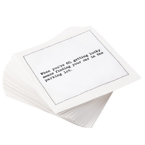 """White Cotton Cocktail with 60th Birthday Quotes - 4.5"""" x 4.5"""" - 50 Units"""