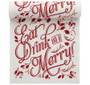 """Eat, Drink & Be Merry"" Linen Printed Luncheon Napkin  - 8"" x 8"" - Wholesale (10 Rolls)"