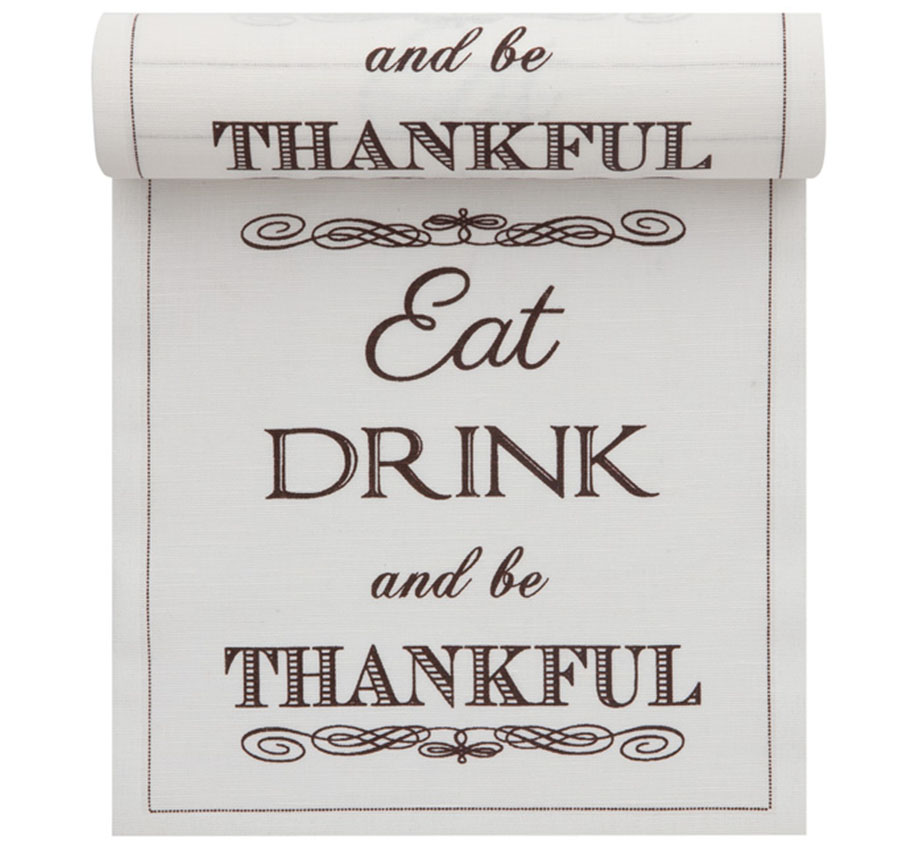 """Eat, Drink & Be Thankful"" Linen Printed Luncheon Napkin - 8"" x 8"" - Wholesale (10 Rolls)"