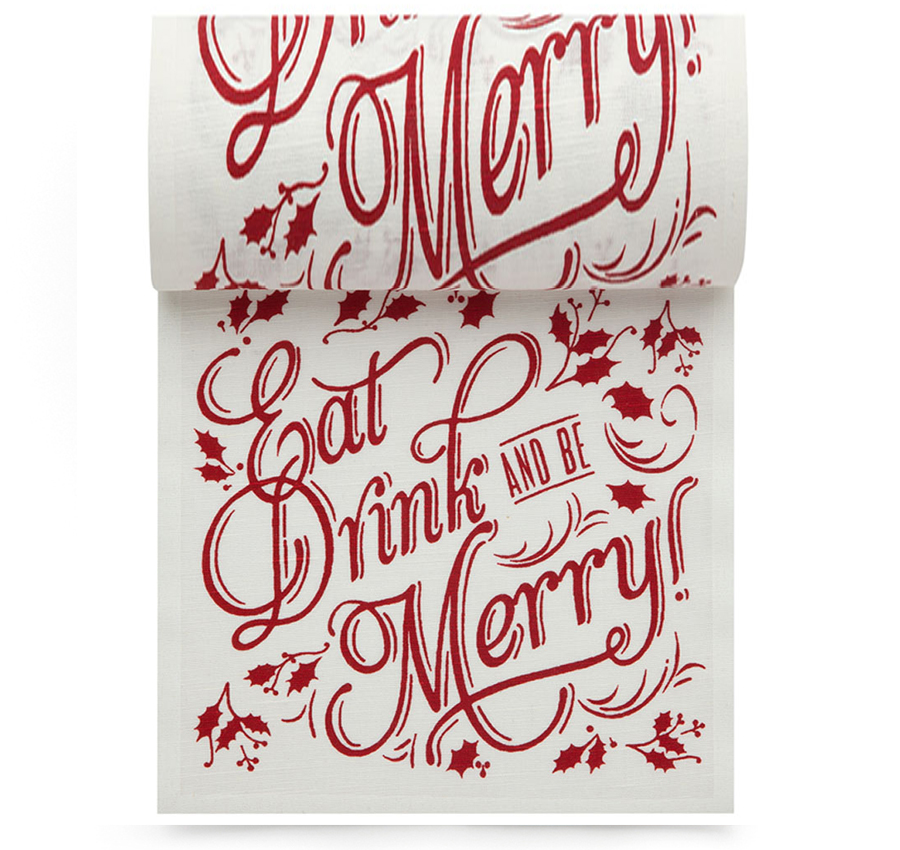 "Eat Drink Be Merry Linen Printed Cocktail Napkin - 4.5"" x 4.5"" - 50 Units Per Roll"