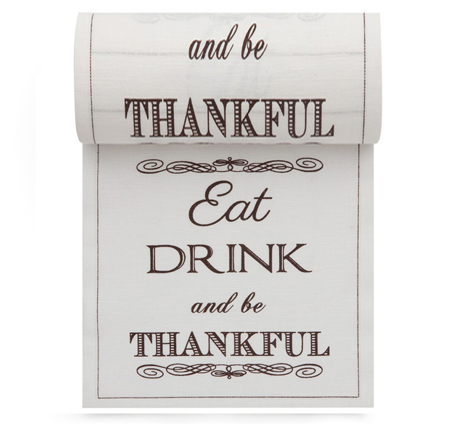 "Eat Drink Be Thankful Linen Printed Cocktail Napkin - 4.5"" x 4.5"" - 50 Units Per Roll"