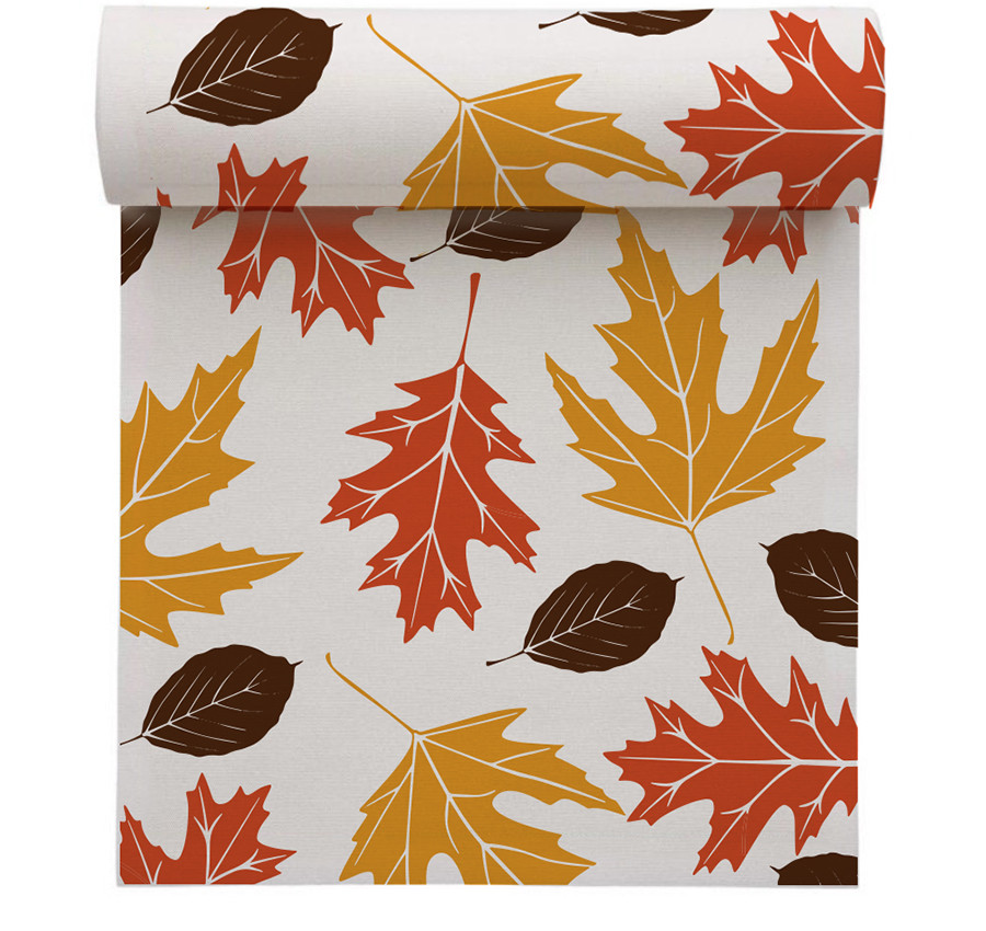 "Fall Leaves Linen Printed Luncheon Napkin - 8"" x 8"" - Wholesale (10 Rolls)"