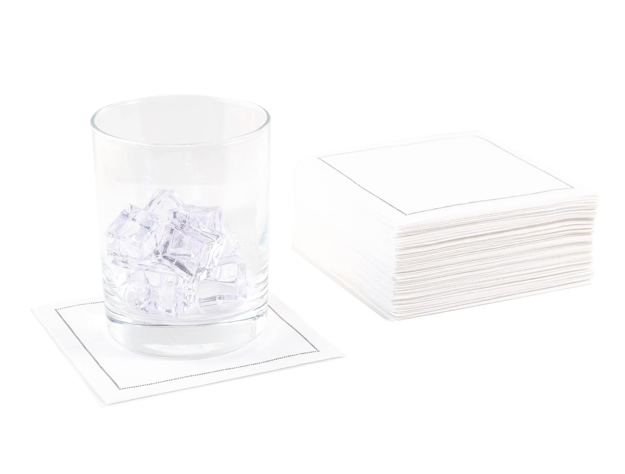 "White Cotton Cocktail Napkins (140 GSM)- 4.5"" x 4.5"" - 100 units"