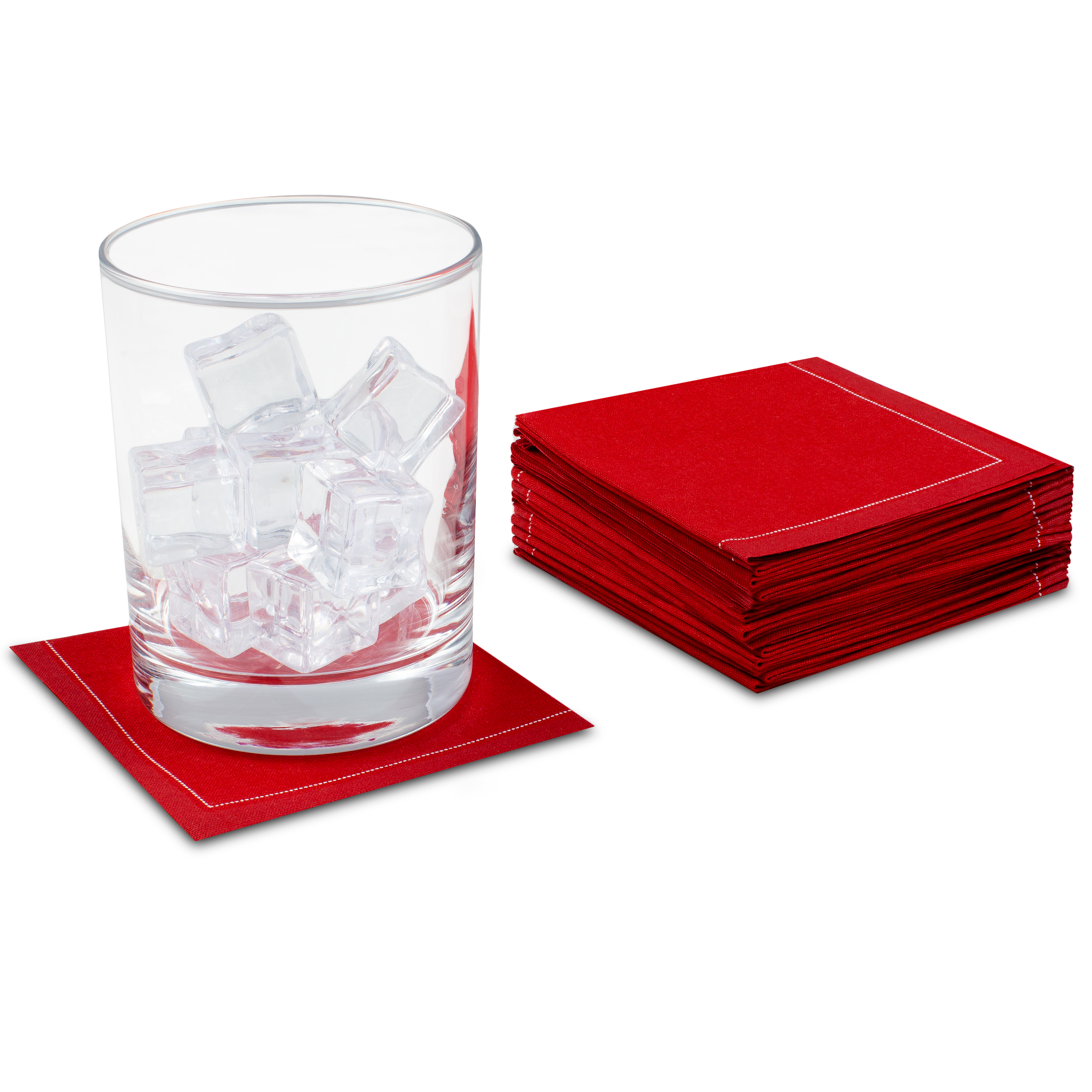"Red Cotton 1/4 Fold Cocktail (140 GSM) - 8"" x 8"" (folded 4"" x 4"") - 600 units"