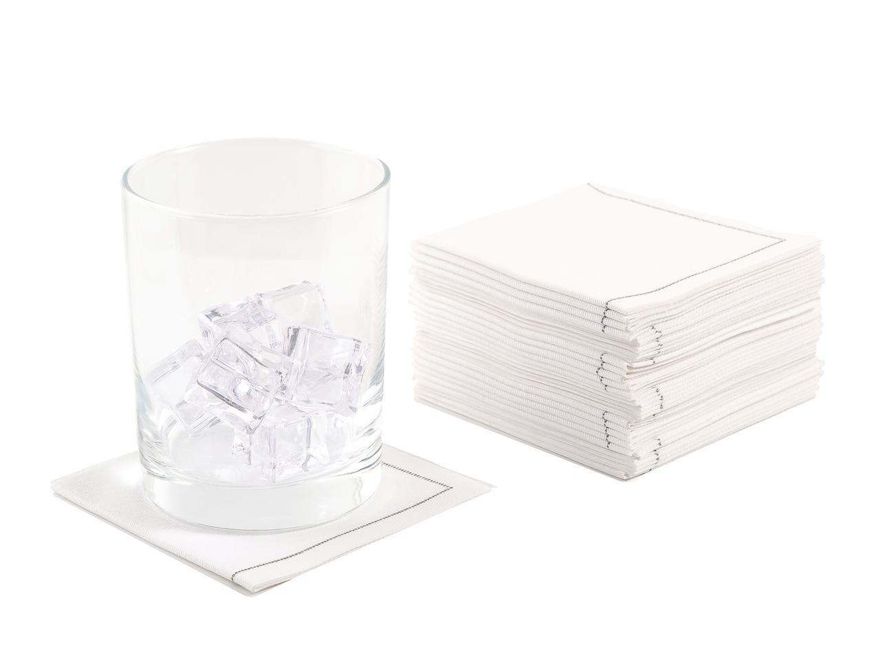 "White Cotton 1/4 Fold Cocktail Premium (180 GSM) - 8"" x 8"" (folded 4"" x 4"") - 600 units"