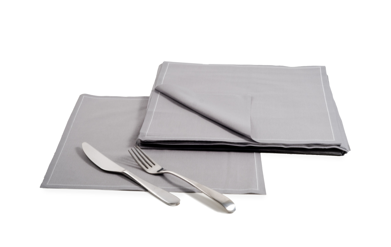 "Grey Cotton Dinner Napkins - 12.6"" x 12.6"" - 25 Units"